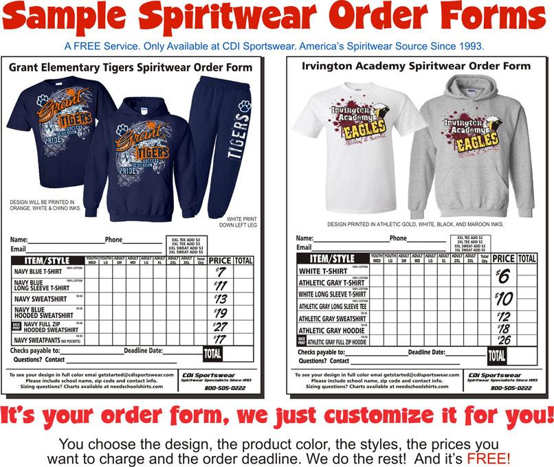 Spirit Wear Order Form  SpiritwearshirtsCom